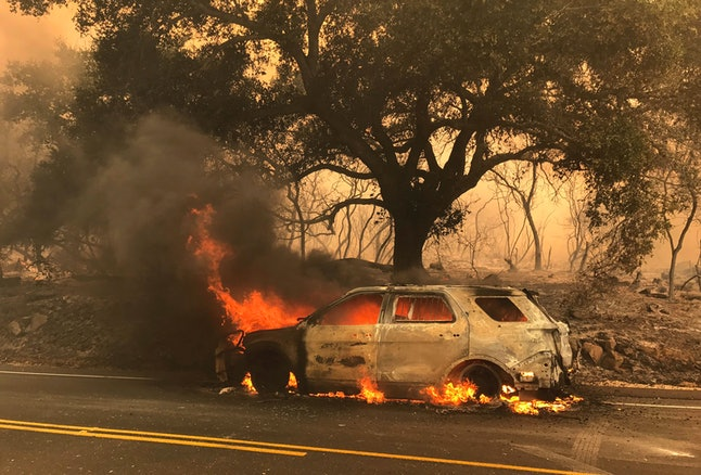 A photo released by the Santa Barbara County Fire Department shows a Santa Barbara County Sheriff's Vehicle burning in the Whittier fire.