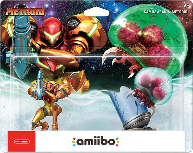 The new amiibo twin pack for 'Metroid: Samus Returns.'