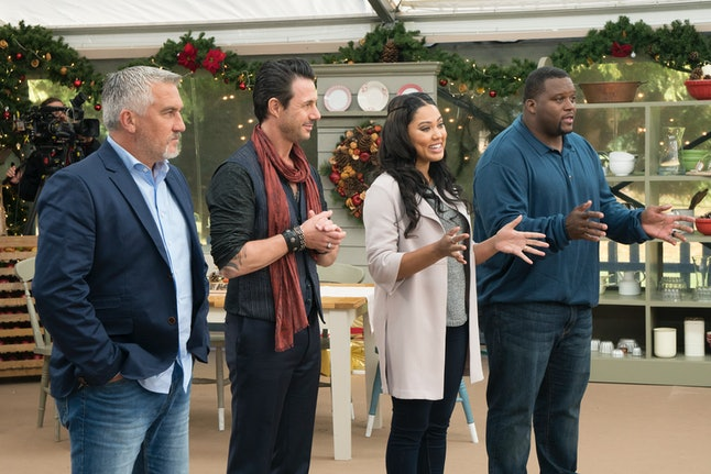 "Paul Hollywood, Johnny Iuzzini, Ayesha Curry and Anthony ""Spice"" Adams on 'The Great American Baking Show'"