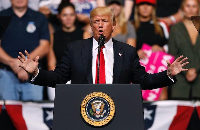 President Donald Trump speaking during a rally, Wednesday, June 21, in Cedar Rapids, Iowa.