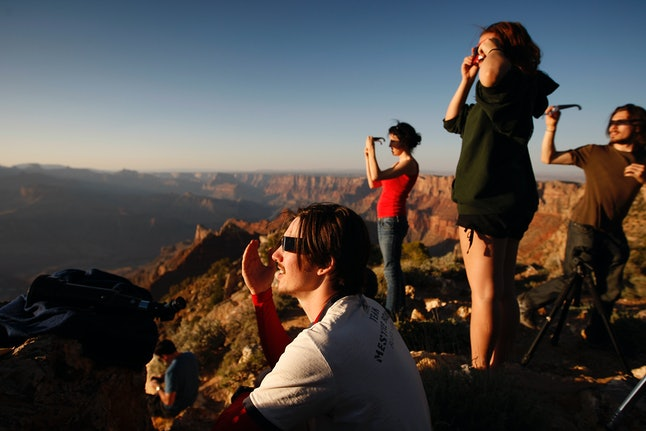 The crowd watching an eclipse from the Grand Canyon on May 20, 2012.