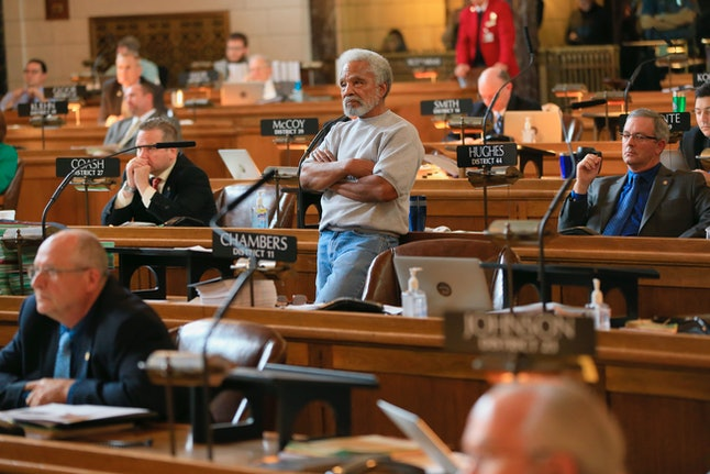 State Sen. Ernie Chambers of Omaha, who has worked for decades against Nebraska's death penalty, stands during debate in the legislature.