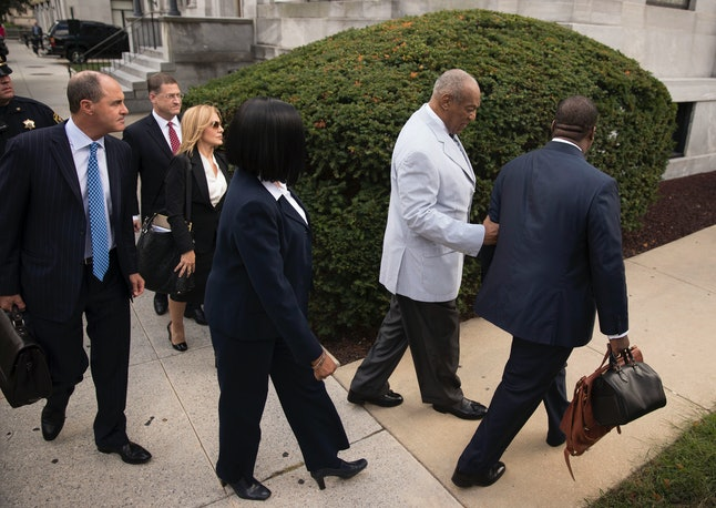 Bill Cosby arrives at the Montgomery County Courthouse in Norristown, Pennsylvania, for Tuesday's pretrial hearing.