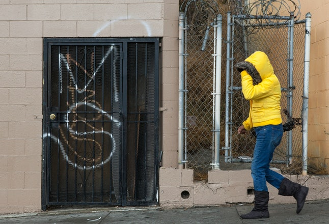MS-13 graffiti tagged on a Salvadoran bakery wall in Los Angeles