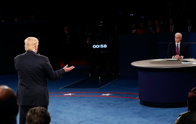 Donald Trump and Anderson Cooper at a debate in St. Louis