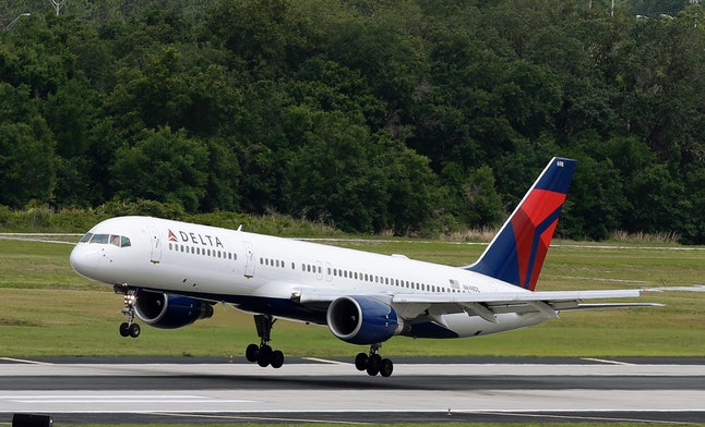 A Delta plane lands at the Tampa International Airport in Tampa, Florida.