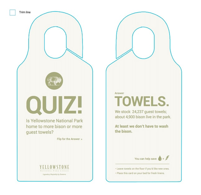 These towel cards are found in rooms in Yellowstone National Park.