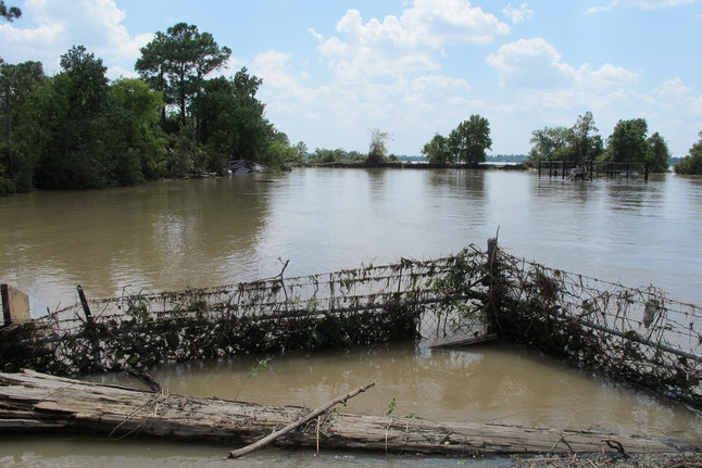 The Highlands Acid Pit, a Superfund site in the Houston metro area, flooded from Hurricane Harvey