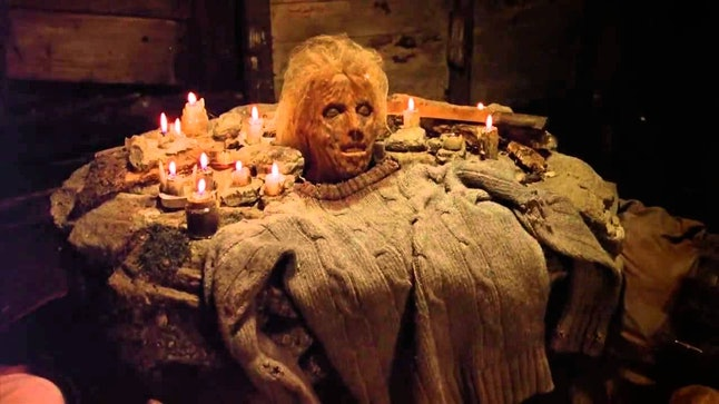'Friday the 13th: The Game' features the macabre shrine to Pamela Voorhees from 'Friday the 13th Part II,' which is where you'll find the sweater.