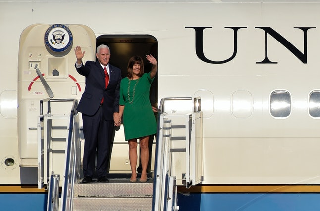 U.S. Vice President Mike Pence and wife Karen Pence arrive at Golubovci airport in Montenegro on Aug. 1.