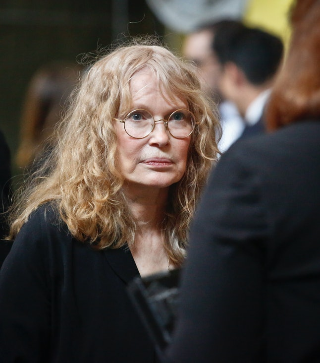Mia Farrow at the 2018 Pulitzer Prize winners awards luncheon at Columbia University, where her son Ronan Farrow received his Pulitzer Prize for public service, Wednesday May 30 in New York.