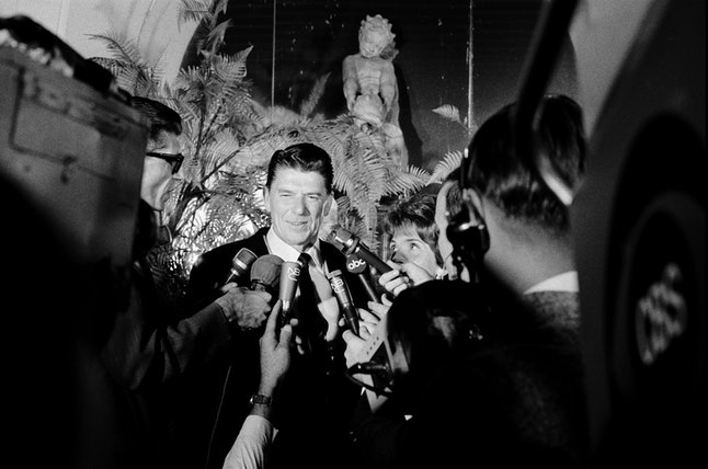 Ronald Reagan, wife Nancy Reagan during a press conference after winning the Republican nomination for California governor on June 7, 1966