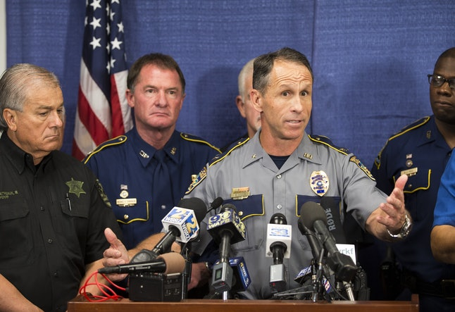Baton Rouge Chief of Police Carl Dabadie speaks during a press conference at the Office of Homeland Security and Emergency Preparedness in Baton Rouge, Louisiana.