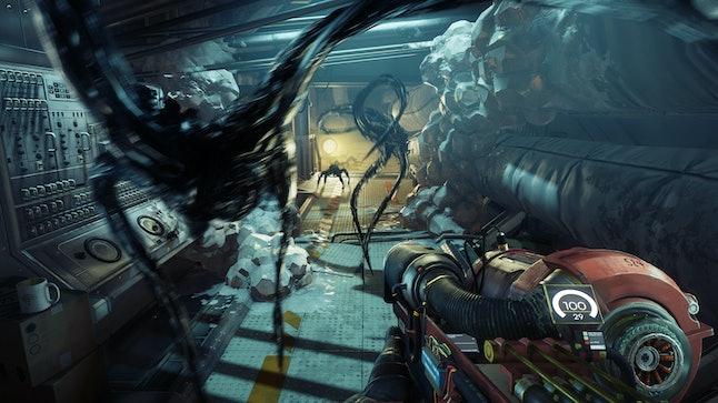 An early encounter with Mimics using the goo gun in 'Prey.'