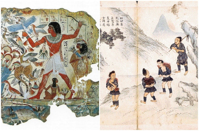 A fresco from ancient Egypt and a drawing of the Duan Qun Miao women
