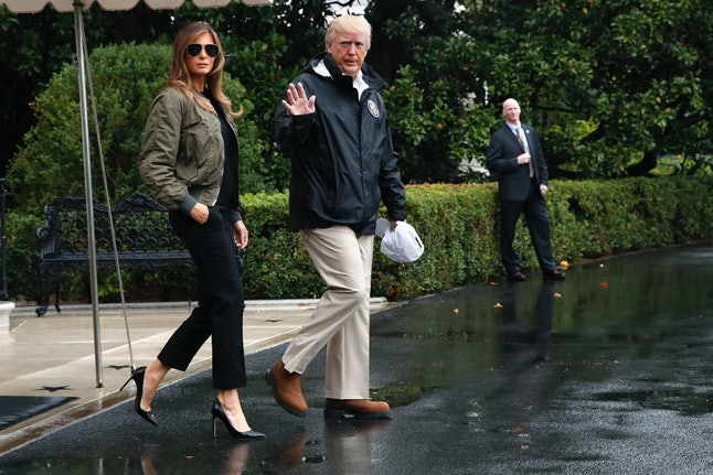 Melania Trump and her husband leaving the White House, on their way to Texas to see damage and relief efforts from Hurricane Harvey