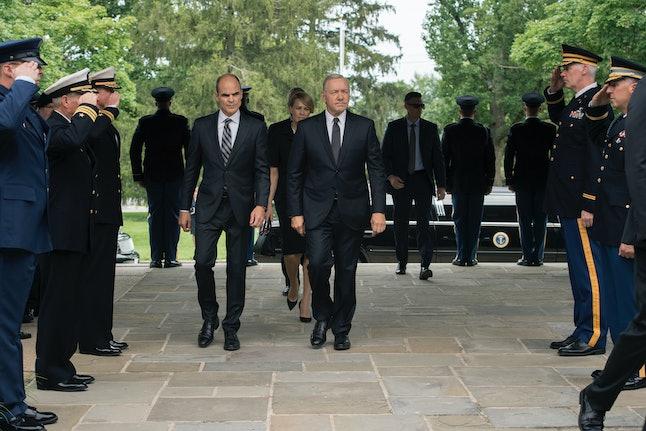 President Underwood attending Jim Miller's funeral