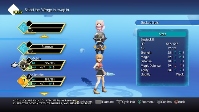 In 'World of Final Fantasy,' you can swap out the Mirages you have in your party. During battle, they stand on your head in a giant stack.