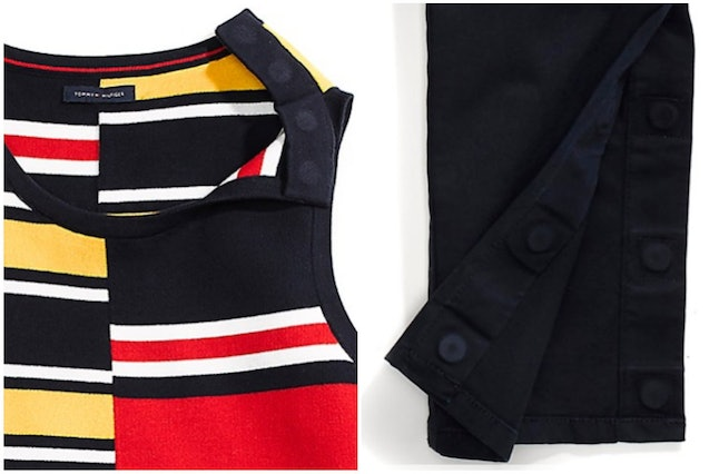 A dress with magnetic closures at the top (left) and pants with an adjustable hem and closure (right)