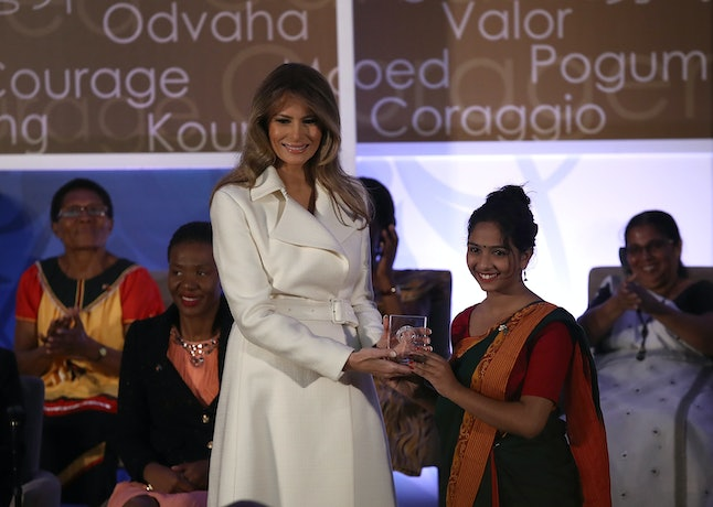 First lady Melania Trump, left, at the International Women of Courage Awards on Wednesday