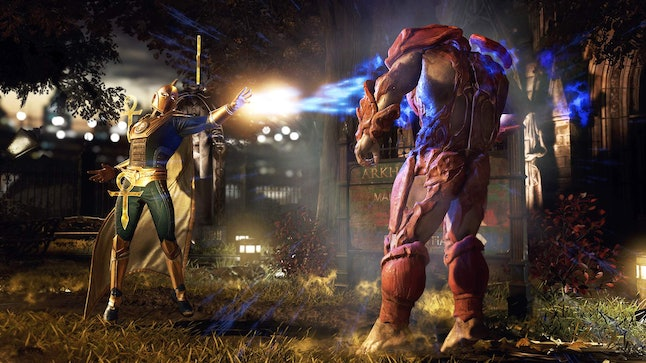 Doctor Fate doing some sorcery against Atrocitus.