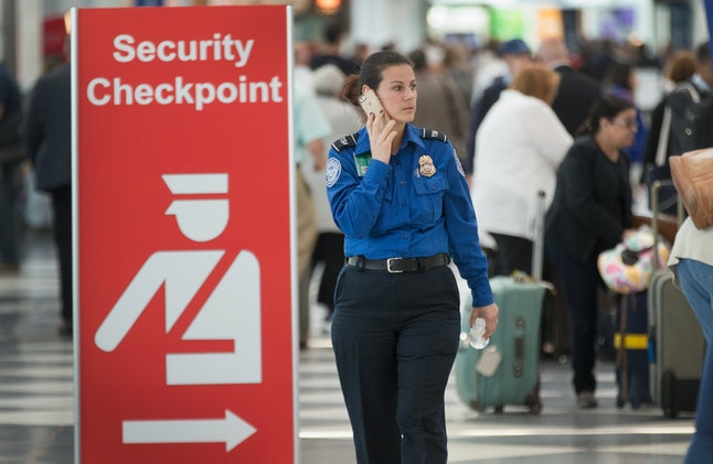 A TSA worker at Chicago's O'Hare airport.