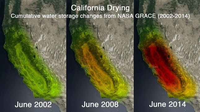 """NASA scientists have used the GRACE spacecraft to document the drastic loss of California's groundwater. According to the L.A. Times, """"These are not satellite photographs. The colors indicate how much groundwater has been lost over time."""""""