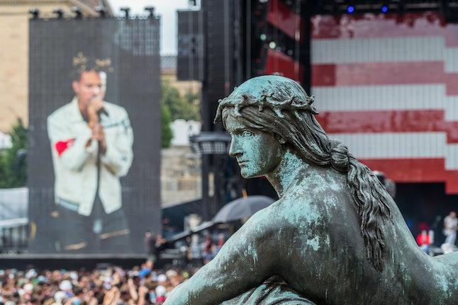 Vic Mensa performs at Made in America on September 5th, 2015, in Philadelphia, Pennsylvania.