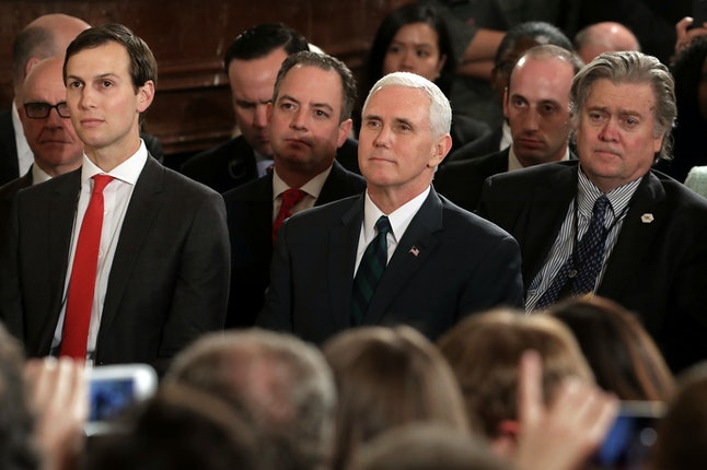 Jared Kushner, Trump son-in-law and senior adviser, sits alongside Vice President Mike Pence and Chief Strategist Steve Bannon.