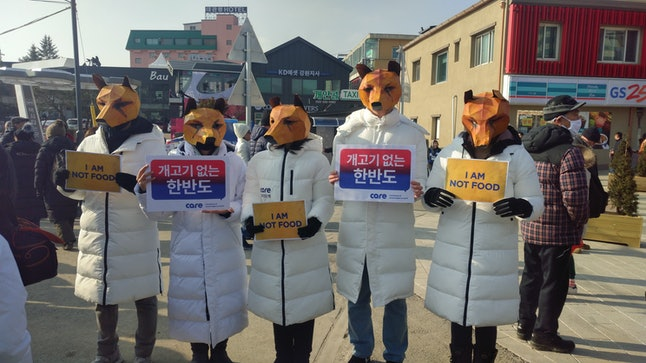 Protestors dressed up as dogs protest South Korea's limited consumption of dog meat in the Pyeongchang Olympic Plaza on Feb. 9, the day of the opening ceremony. Dog meat was banned from the country ahead of the 1988 Seoul Olympics, and the majority of Koreans do not regularly eat it today.
