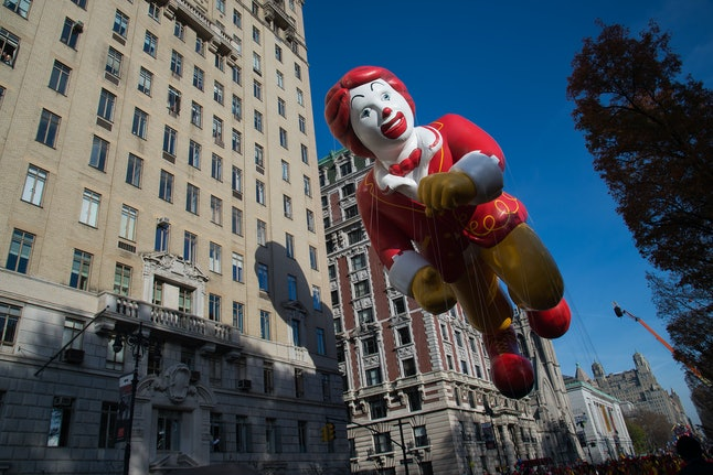 Look! A terrifying float of a murder clown! Fun for the whole family!