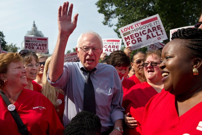 """Bernie Sanders in Washington D.C. rallying support for his """"Medicare-for-all"""" plan."""