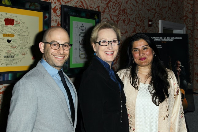 Sharmeen Obaid-Chinoy and Andy Schocken with Meryl Streep at a prescreening of their documentary in New York.