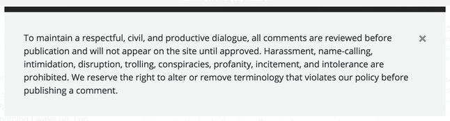 Verrit's commenting policy as it appears on the website