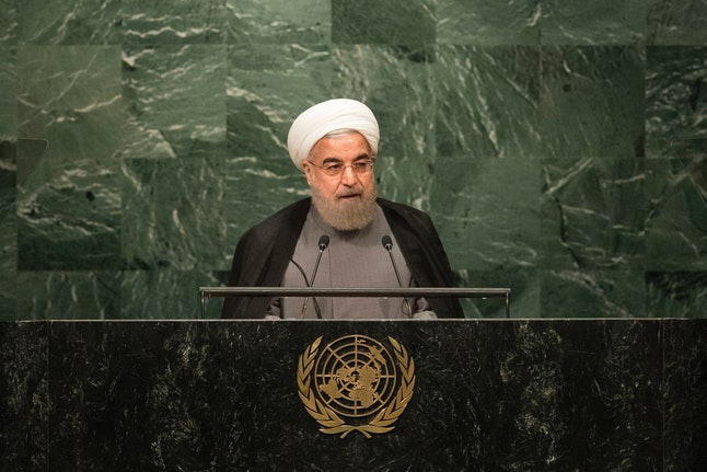President Hasan Rouhani speaks in New York City.