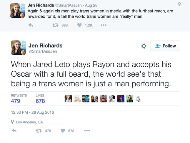Jen Richards' Twitter account