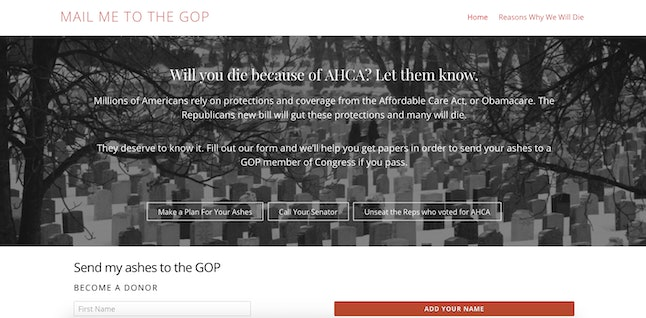 A screenshot of Mail Me to the GOP.
