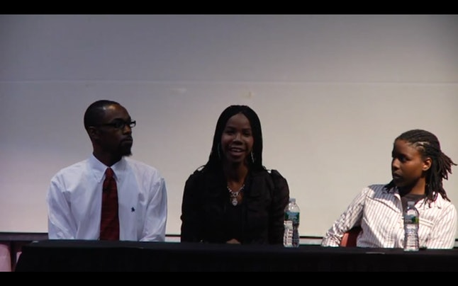 Eyricka Morgan (center) on a panel at the Queer Newark Oral History Conference in Newark, New Jersey, in 2011.