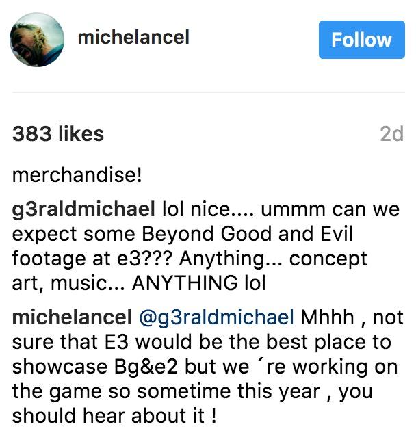 Ancel's response to a fan on Instagram