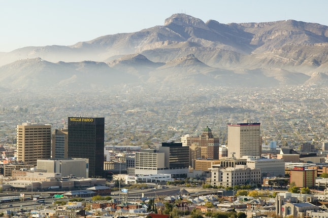 Downtown El Paso, Texas, with the mountains of Mexico beyond