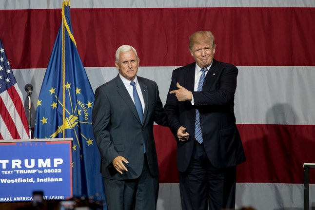 Donald Trump courts Gov. Mike Pence in Indiana on July 12, 2016.