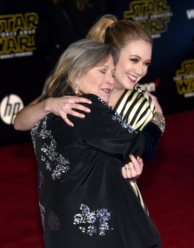 Carrie Fisher and Billie Lourd attend the Premiere 'Star Wars: The Force Awakens'.
