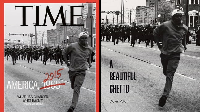 Devin Allen uses his iconic photo from the Time magazine cover for the cover of his new book, 'A Beautiful Ghetto.'