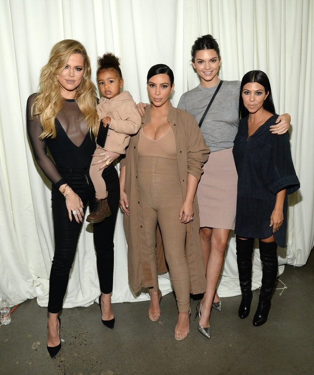From left to right: Khloe Kardashian, North West, Kim Kardashian West, Kendall Jenner and Kourtney Kardashian.