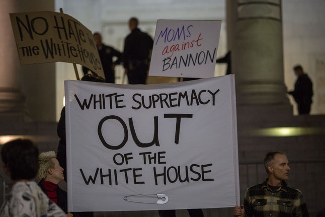 People protest the appointment of white nationalist alt-right media mogul Steve Bannon to President Donald Trump's administration.