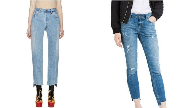 Vetements, $1,395 (L); Zara, $50 (R)