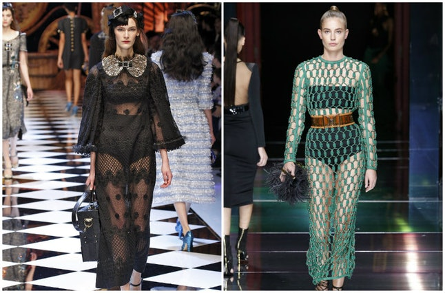 A model at Dolce & Gabbana (L) and Balmain (R)