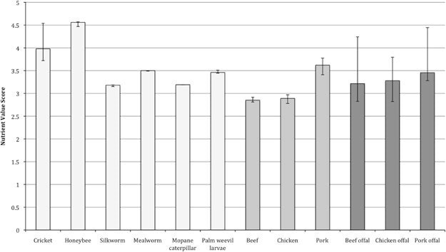 """Bar graph illustrates the """"Nutrient Value Scores"""" for insects (light gray), meat (medium gray) and offal (dark gray). Higher scores indicate healthier foods."""