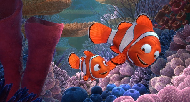 Nemo, voiced by Alexander Gould, and his fish-dad Marlin, voiced by Albert Brooks