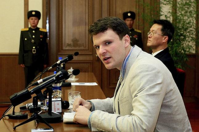 Otto Warmbier speaks to reporters in Pyongyang, North Korea.